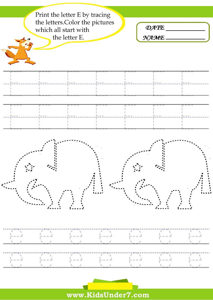 Kids Under 7: Alphabet Worksheets.trace And Print Letter E