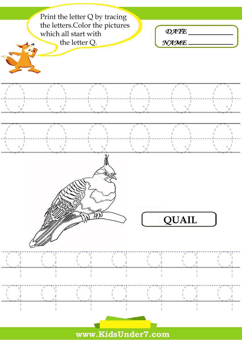 Kids Under 7: Alphabet Worksheets.trace And Print Letter Q