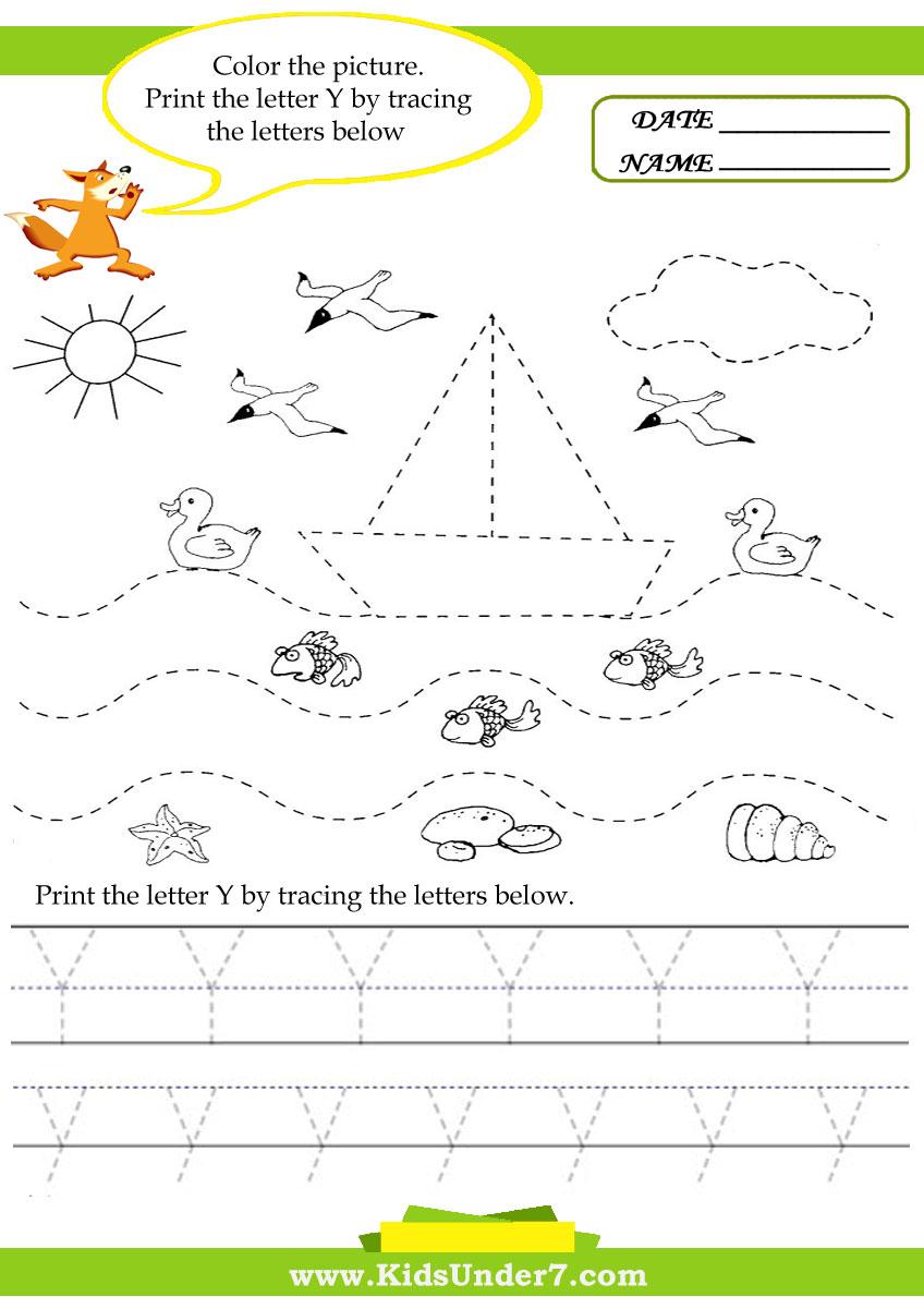 Kids Under 7: Alphabet Worksheets. Trace And Print Letter Y
