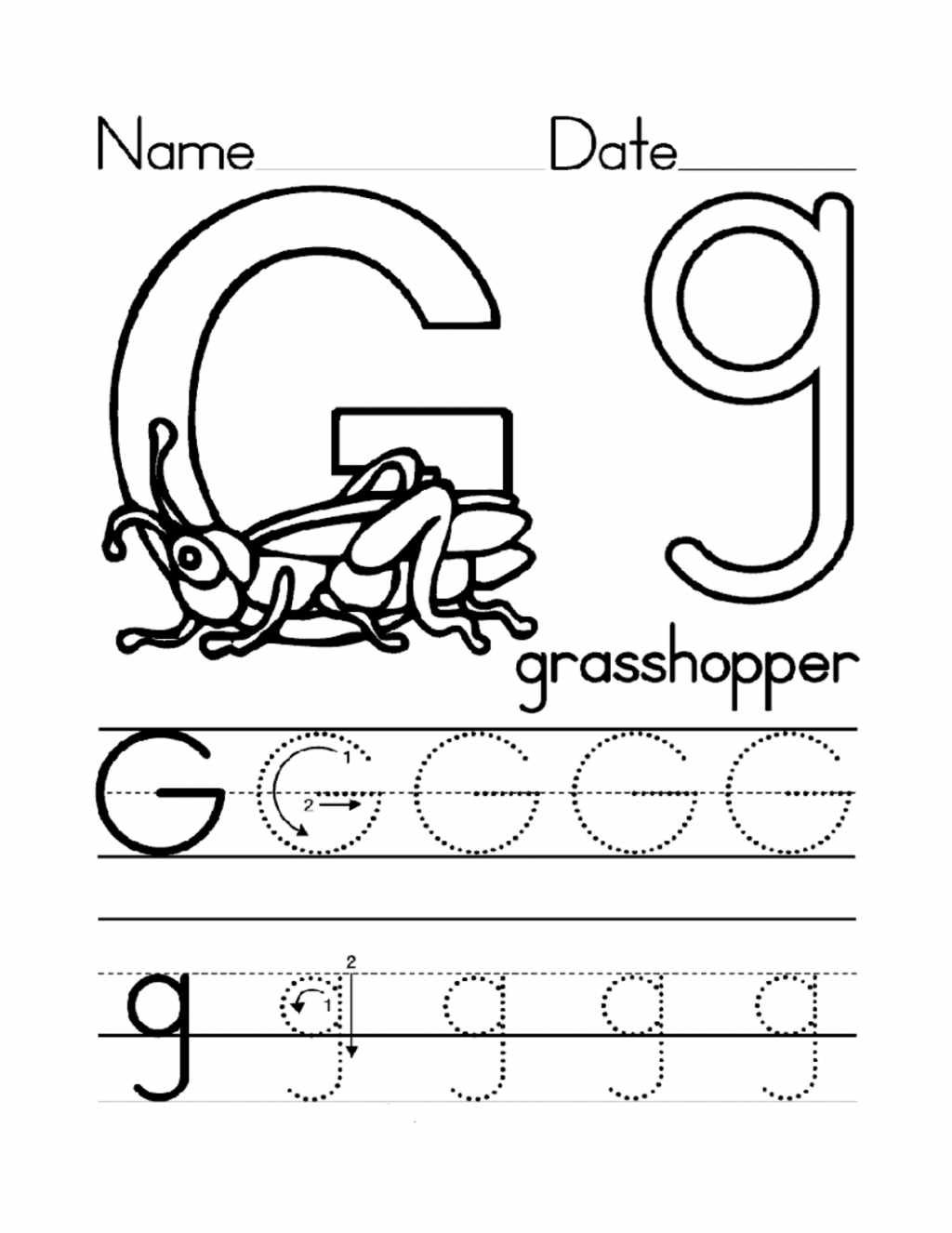 Kidzone Letter Worksheets Trace G Activity Shelter S W