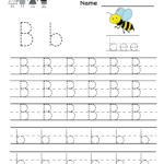 Kindergarten Letter B Writing Practice Worksheet Printable