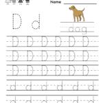 Kindergarten Letter D Writing Practice Worksheet Printable