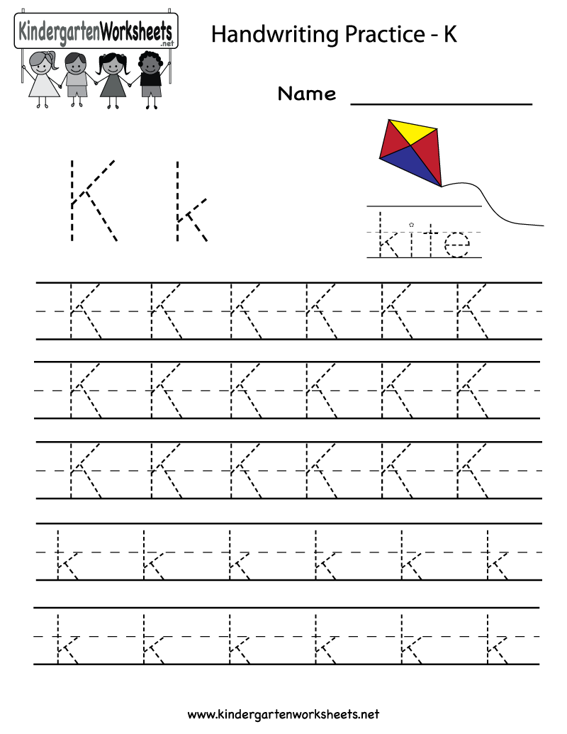 Kindergarten Letter K Writing Practice Worksheet Printable