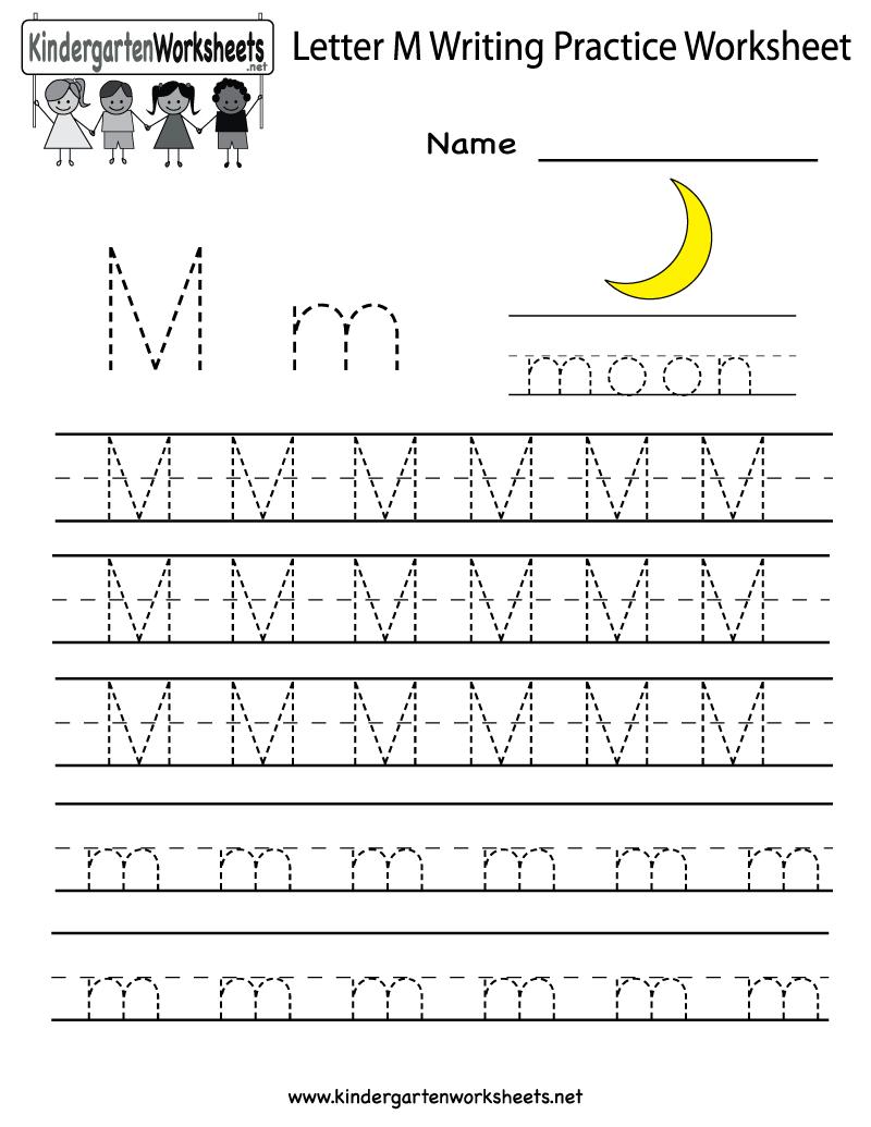Kindergarten Letter M Writing Practice Worksheet Printable
