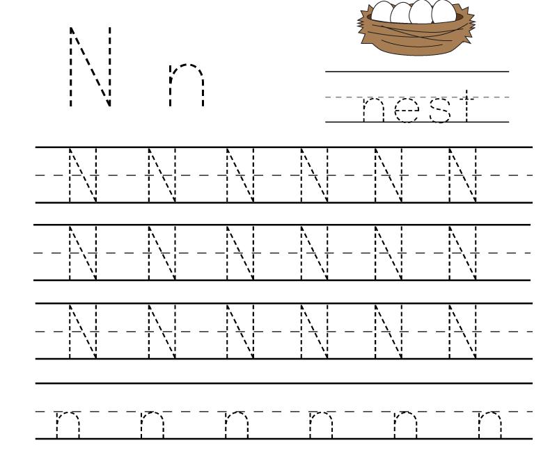 Kindergarten Letter N Writing Practice Worksheet Printable