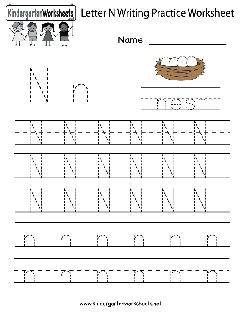 Kindergarten Letter N Writing Practice Worksheet Printable