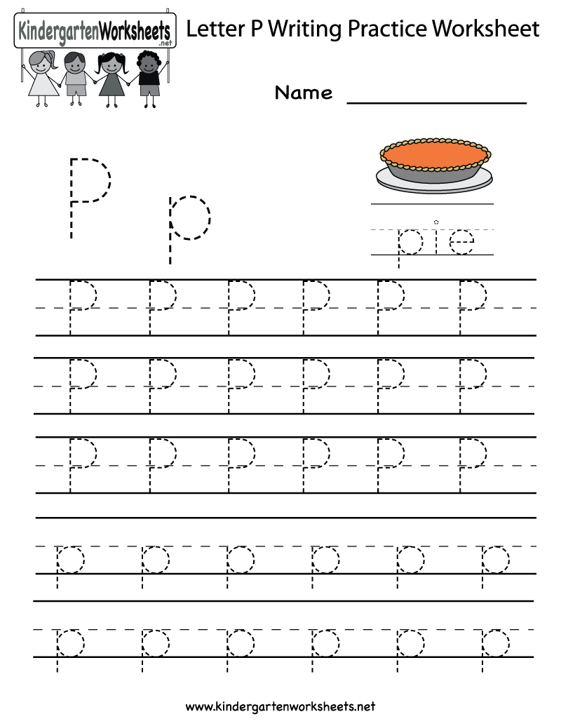 Kindergarten Letter P Writing Practice Worksheet Printable