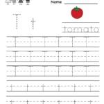 Kindergarten Letter T Writing Practice Worksheet Printable