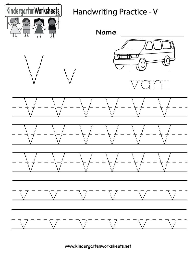 Kindergarten Letter V Writing Practice Worksheet Printable