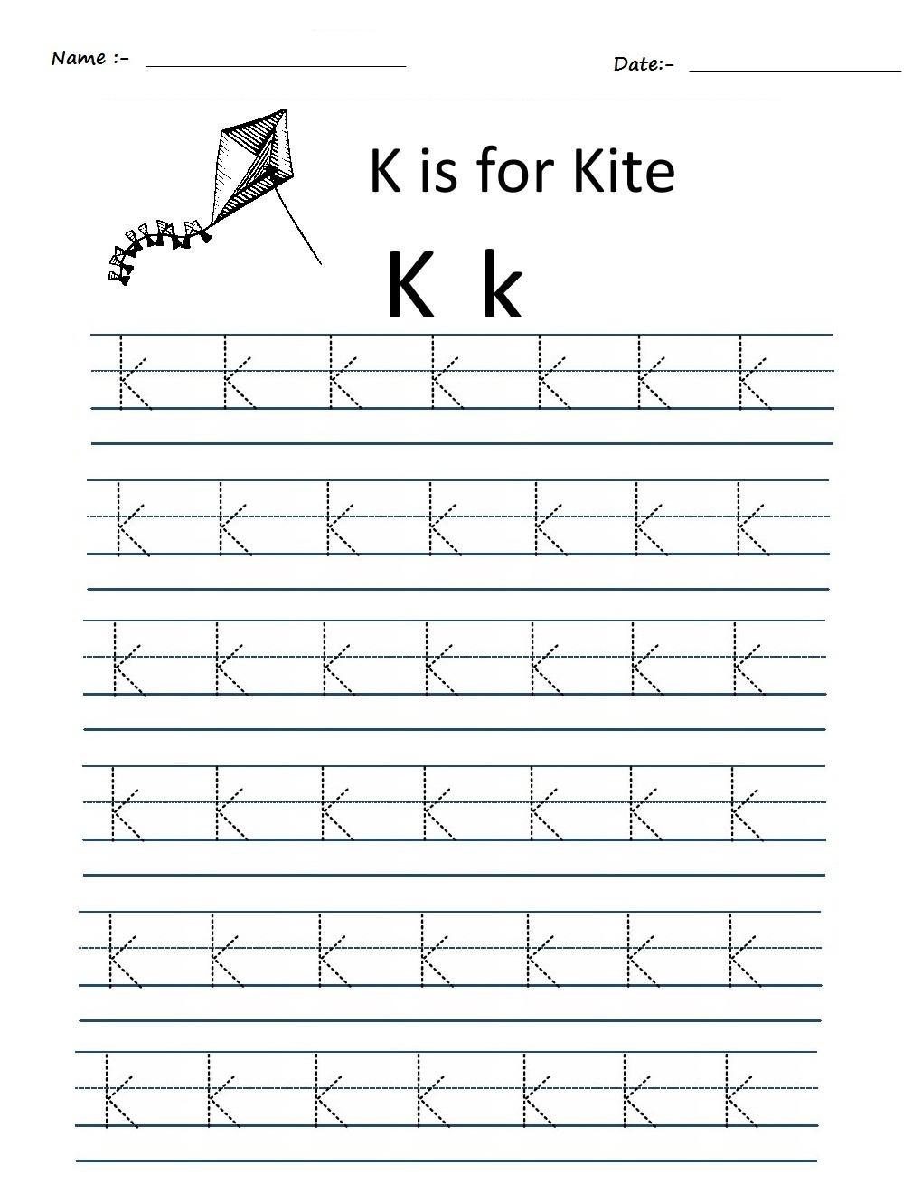 Kindergarten Worksheets: Alphabet Tracing Worksheets - K