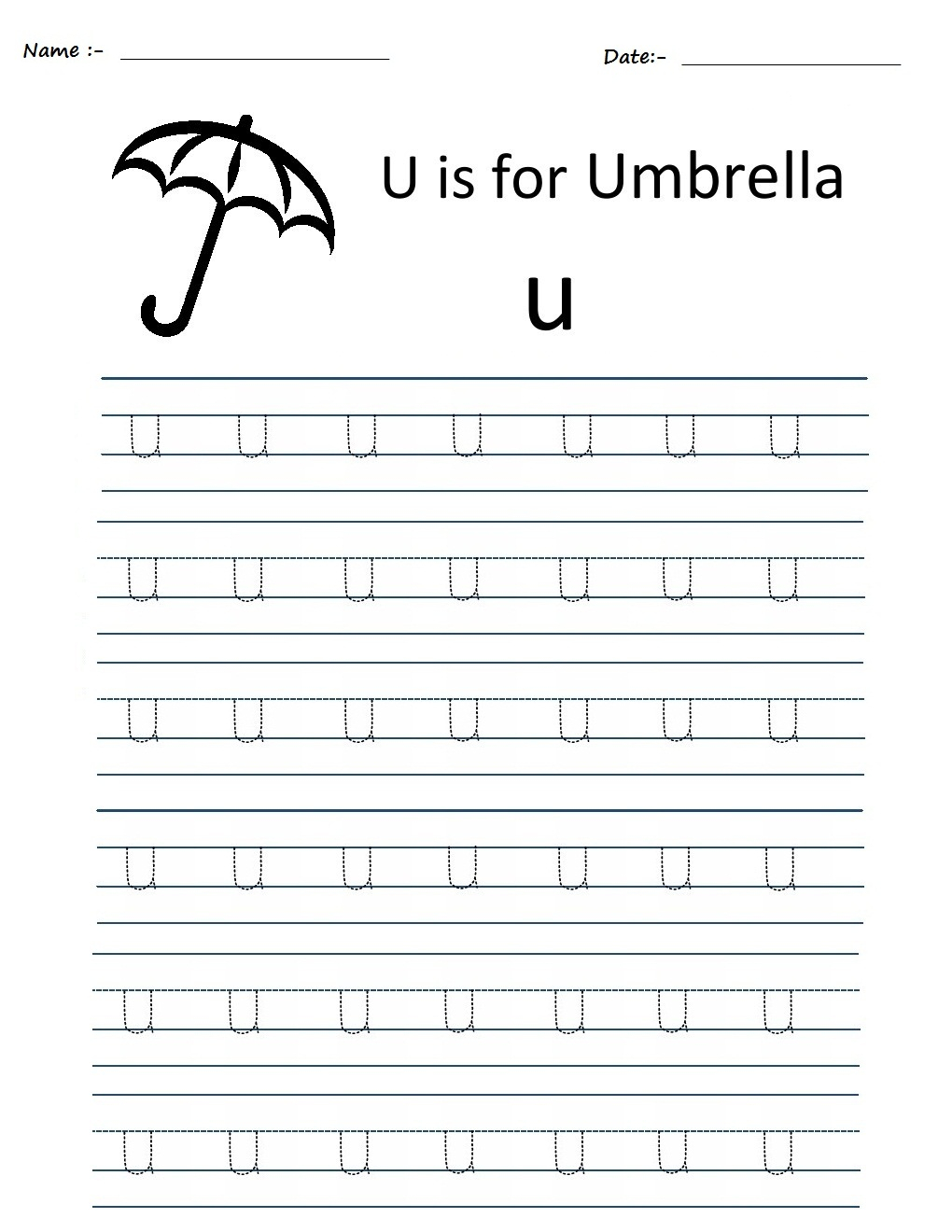 Kindergarten Worksheets: Alphabet Tracing Worksheets - U