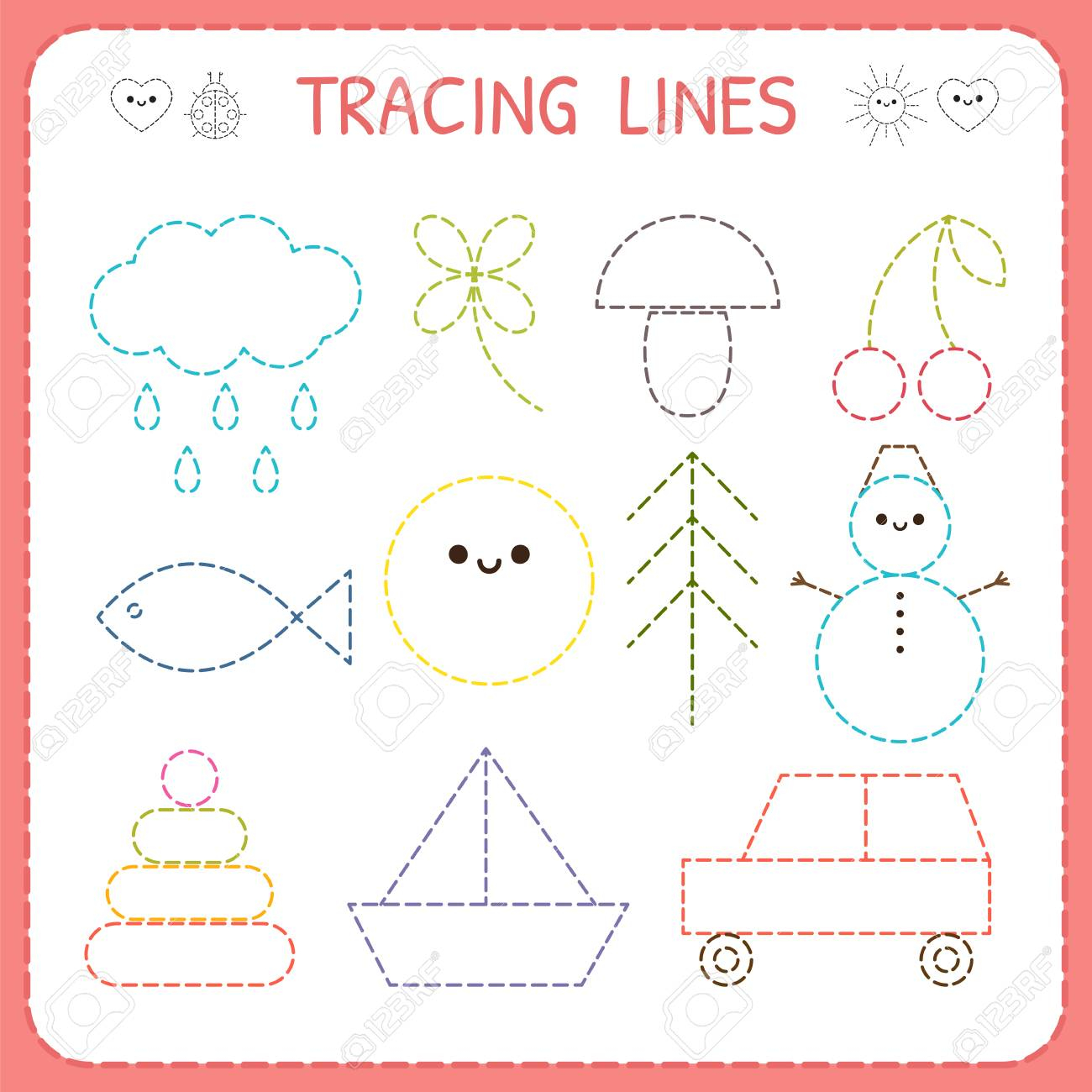 Kindergartens Educational Game For Kids. Preschool Tracing Worksheet..