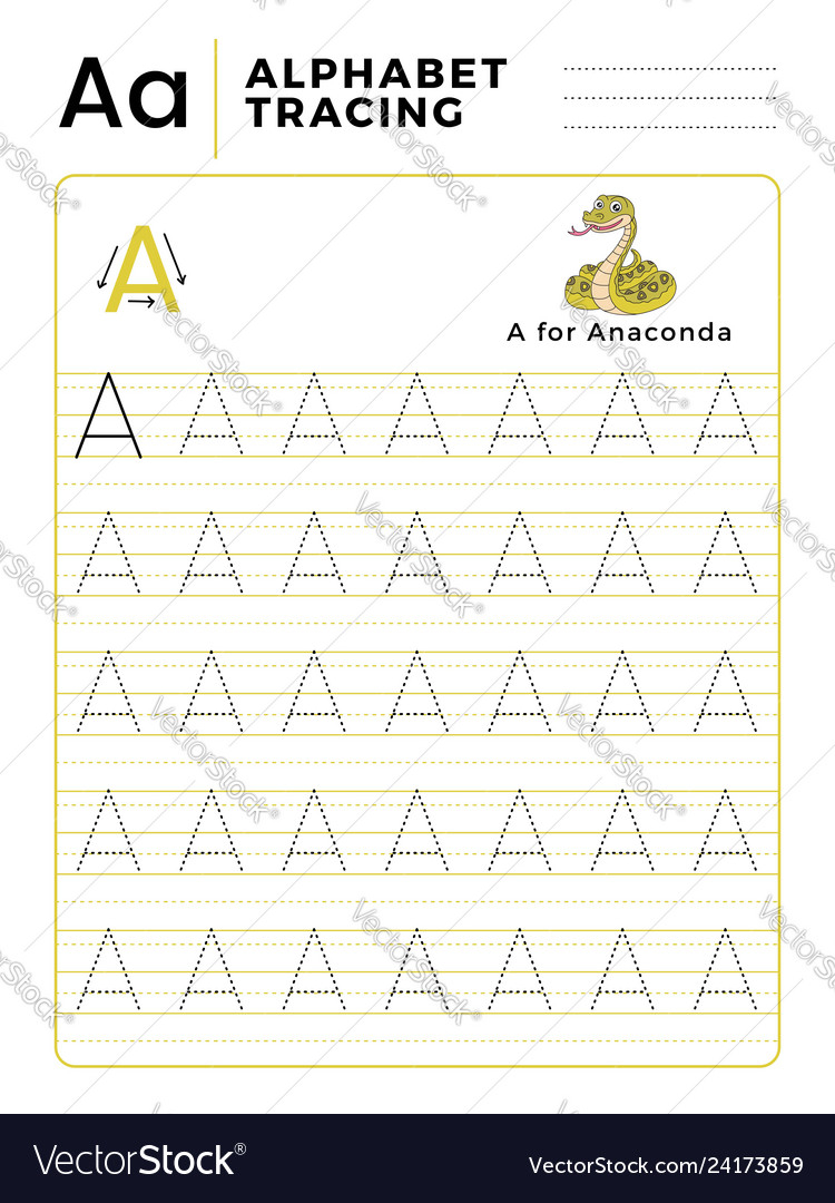 Letter A Alphabet Tracing Book With Example And