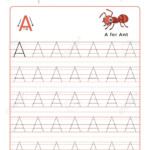 Letter A Alphabet Tracing Book With Example And Funny Ant Insect..