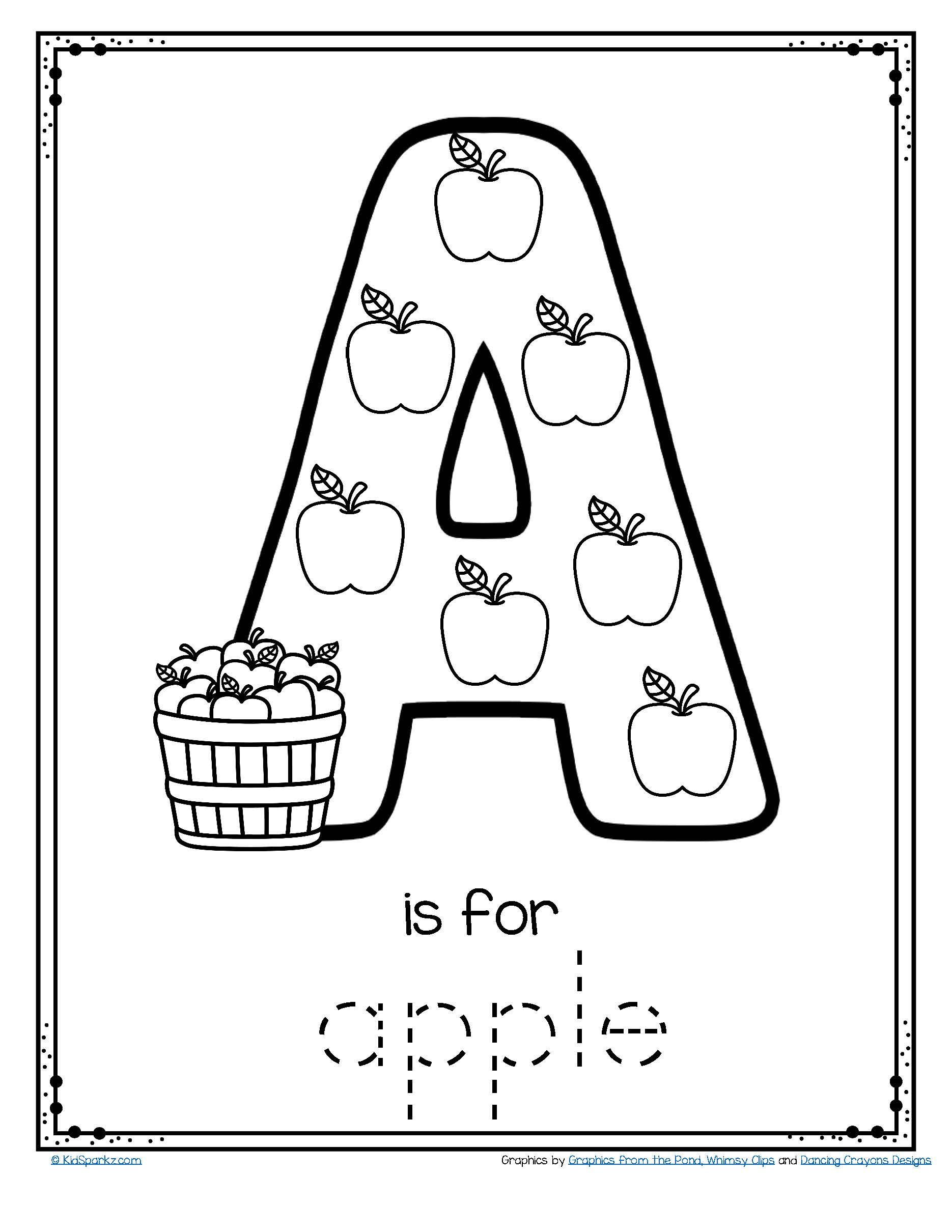 Letter A Is For Apple - Trace And Color Printable Free