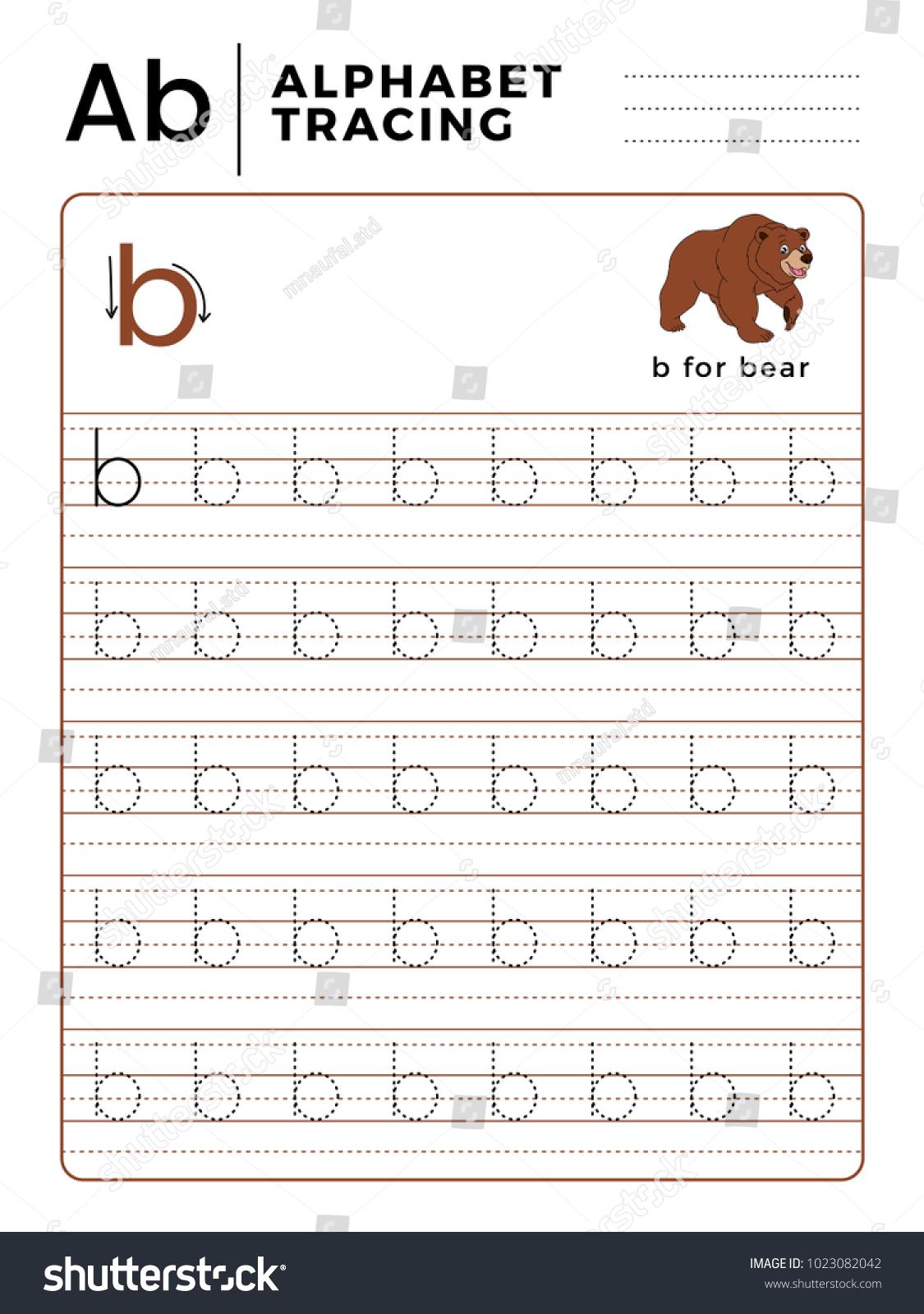 Letter B Alphabet Tracing Book Example Arkivvektor