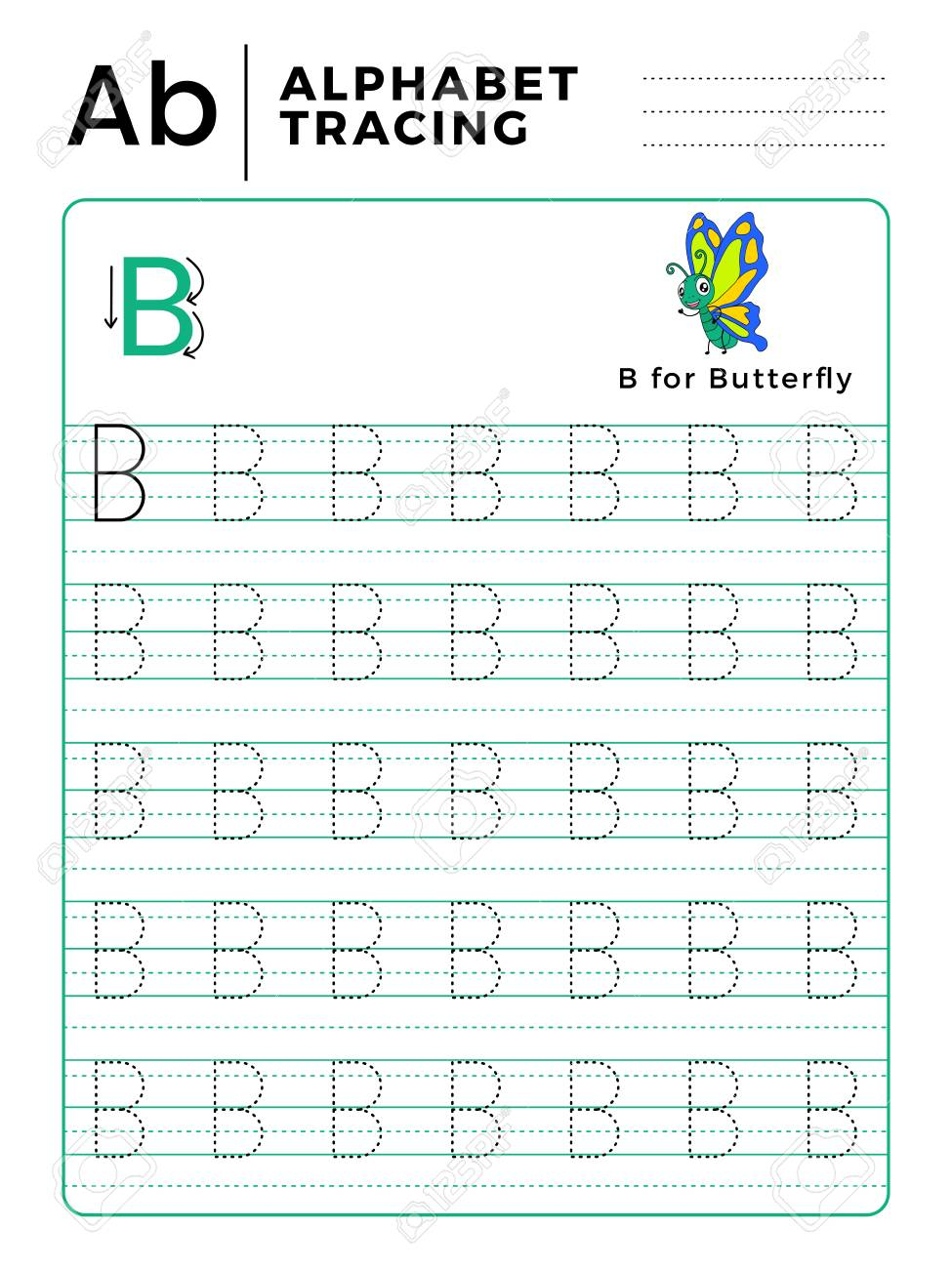 Letter B Alphabet Tracing Book With Example And Funny Butterfly..