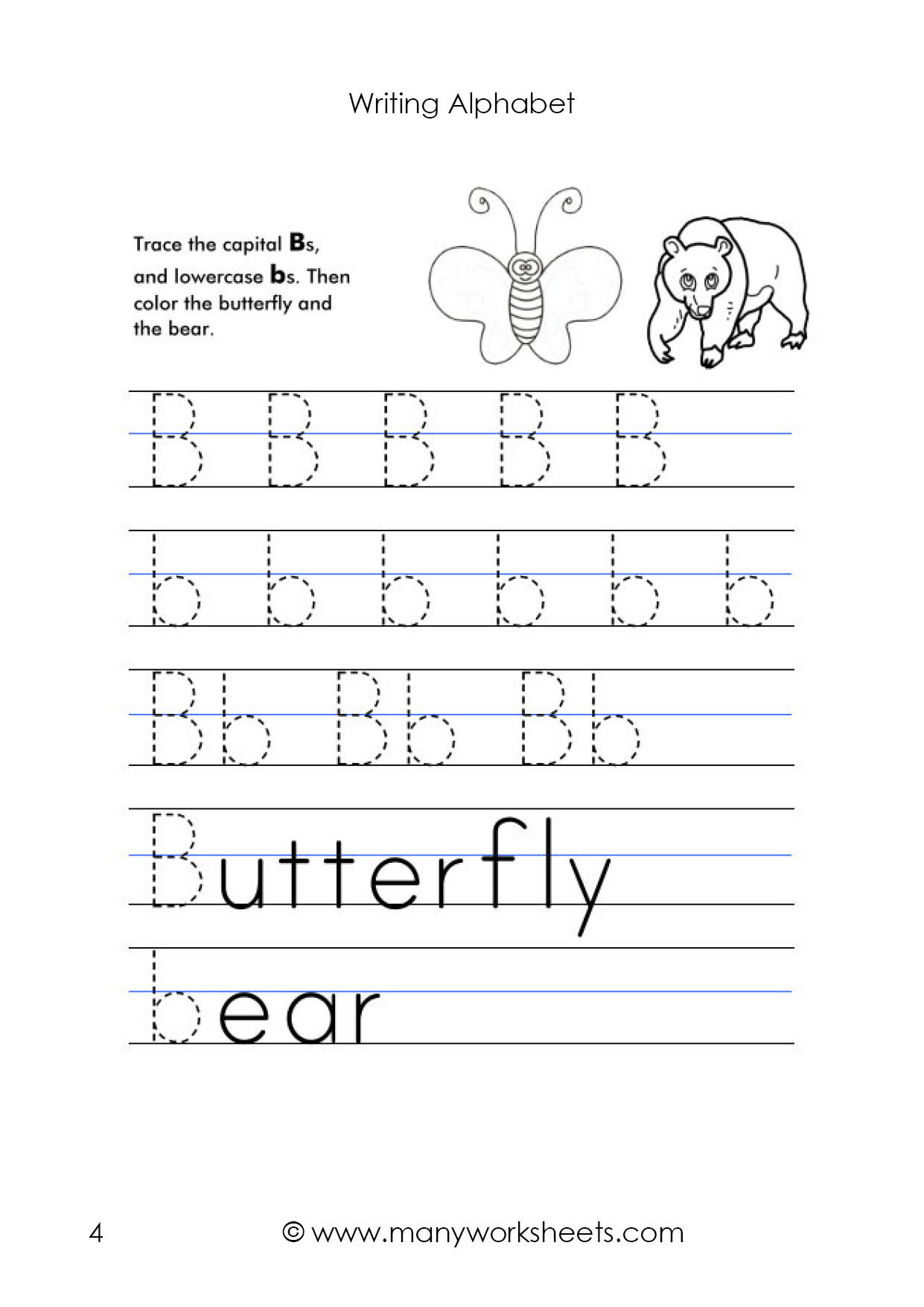Letter B Worksheet – Tracing And Handwriting