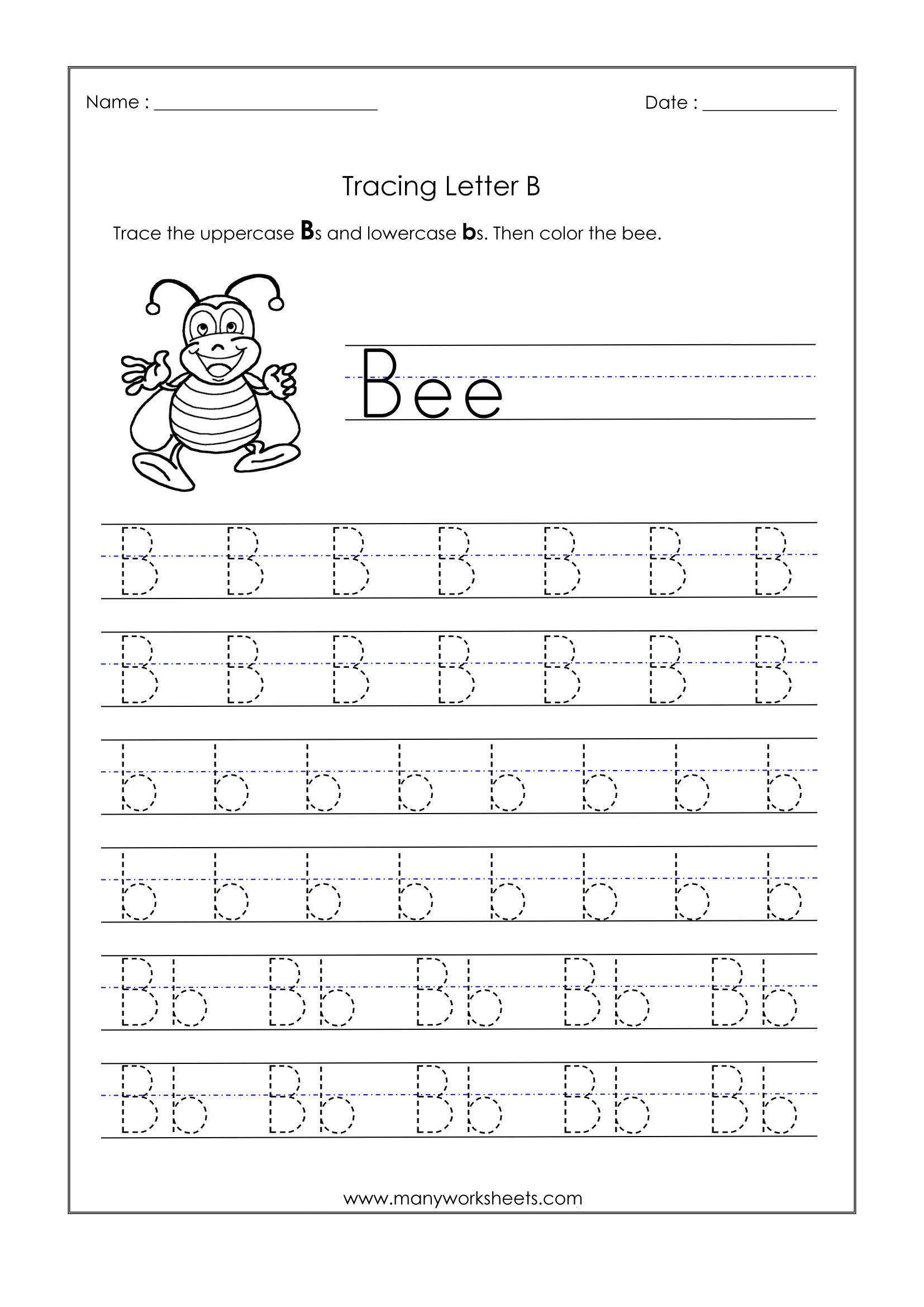 Letter B Worksheets For Kindergarten – Trace Dotted Letters
