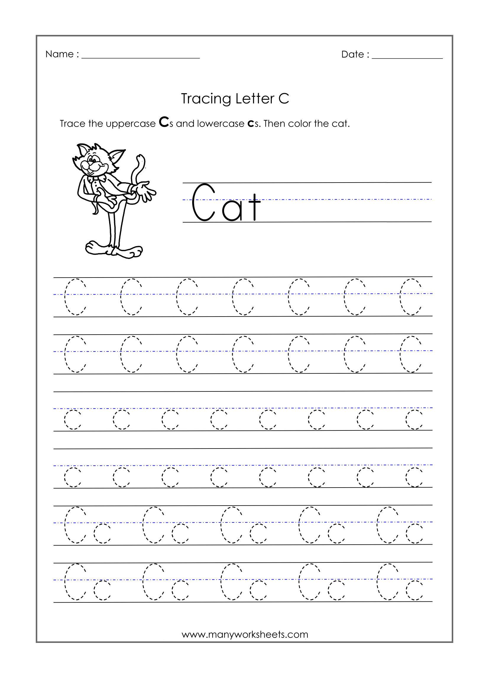 Letter C Worksheets For Kindergarten – Trace Dotted Letters