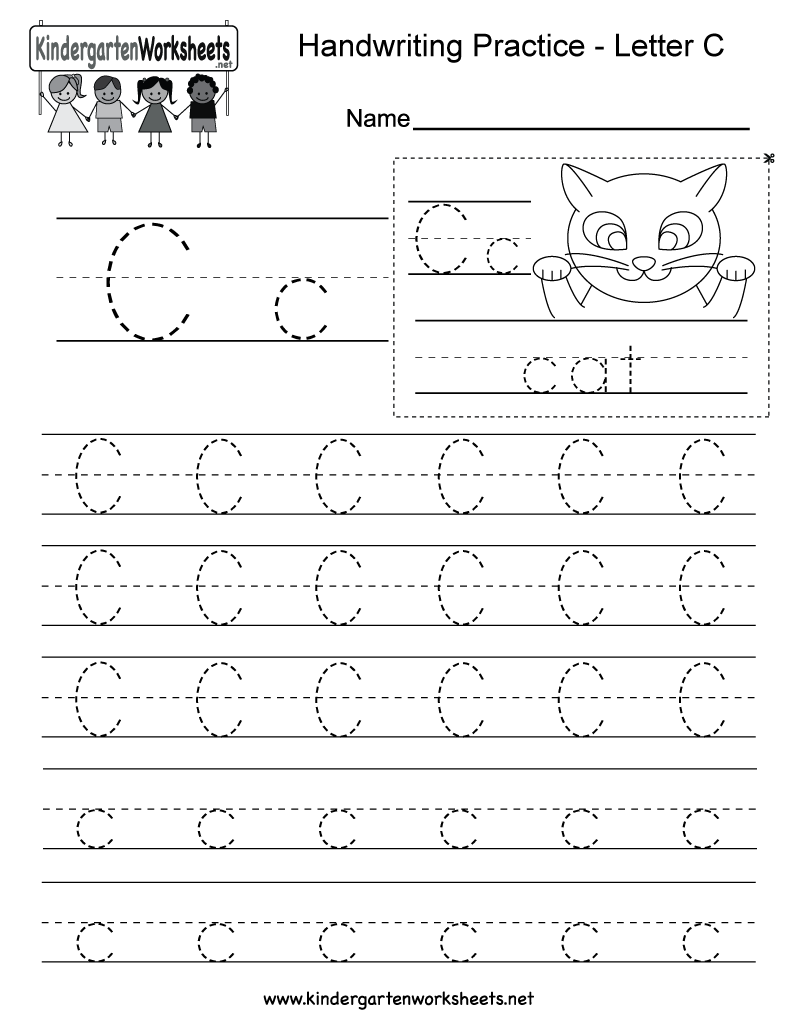 Letter C Writing Practice Worksheet - Free Kindergarten