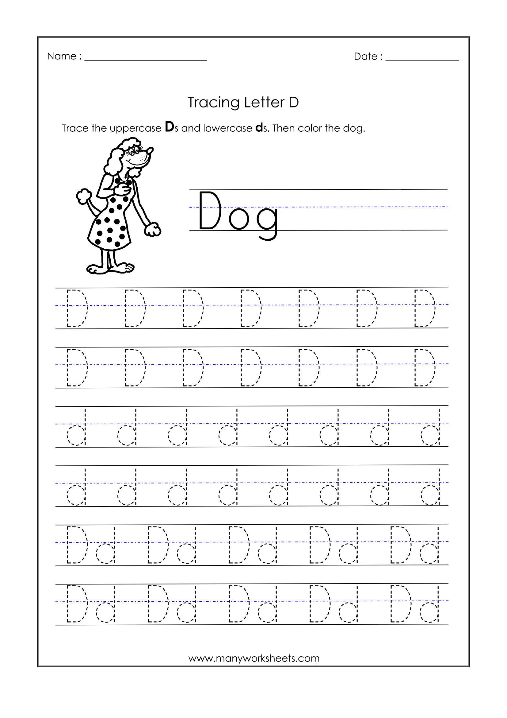 Letter D Worksheets For Kindergarten – Trace Dotted Letters