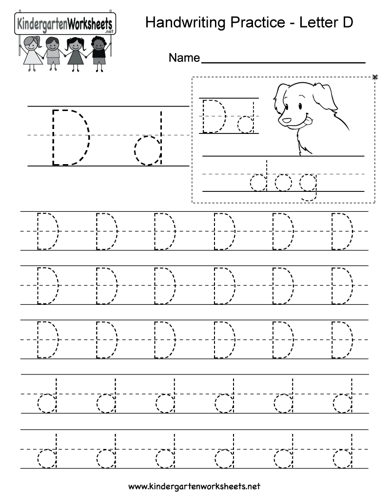 Letter D Writing Practice Worksheet - Free Kindergarten