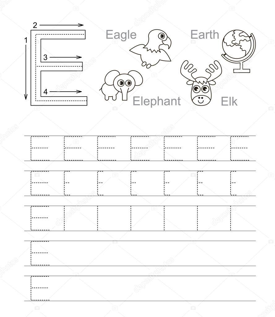 Letter E. Learn Handwriting. — Stock Vector