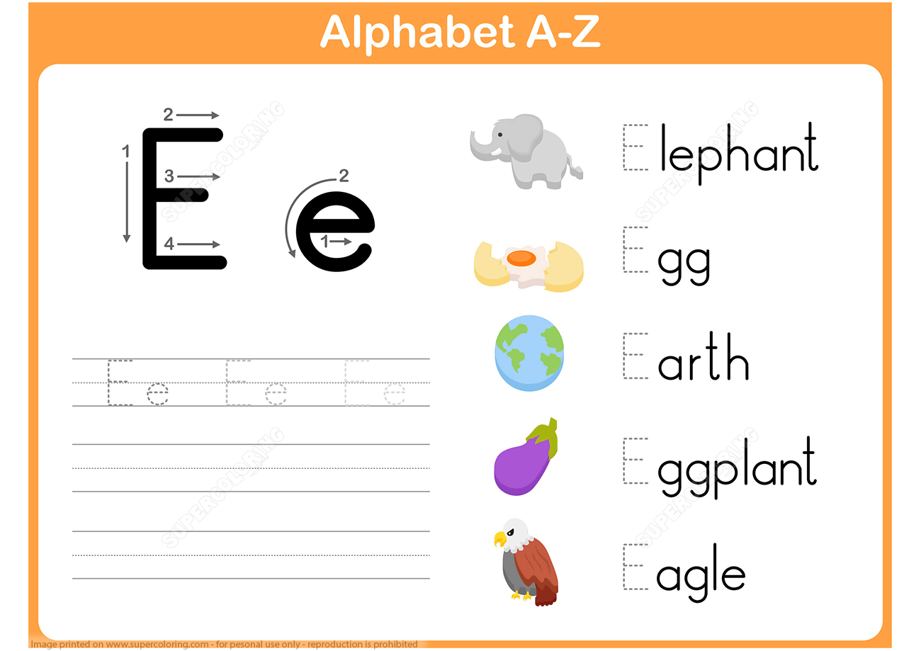 Letter E Tracing Worksheet | Free Printable Puzzle Games