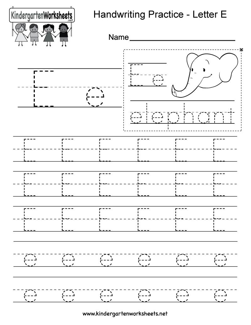 Letter E Writing Practice Worksheet - Free Kindergarten