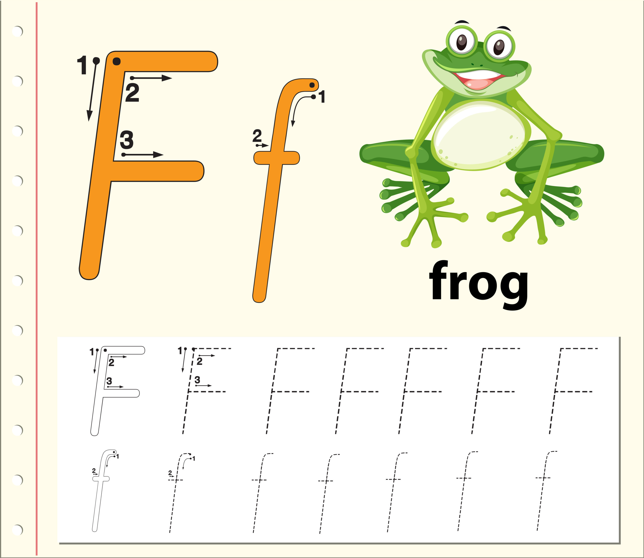 Letter F Tracing Alphabet Worksheets - Download Free Vectors