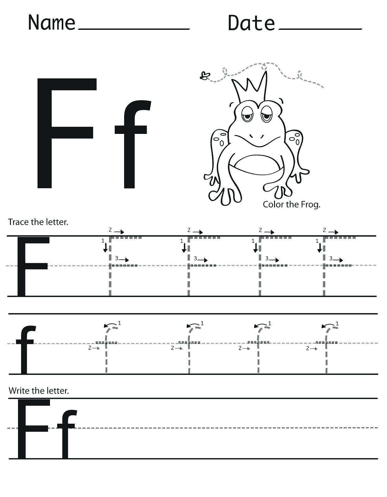 Letter F Tracing Worksheets Uppercase Letter F Color