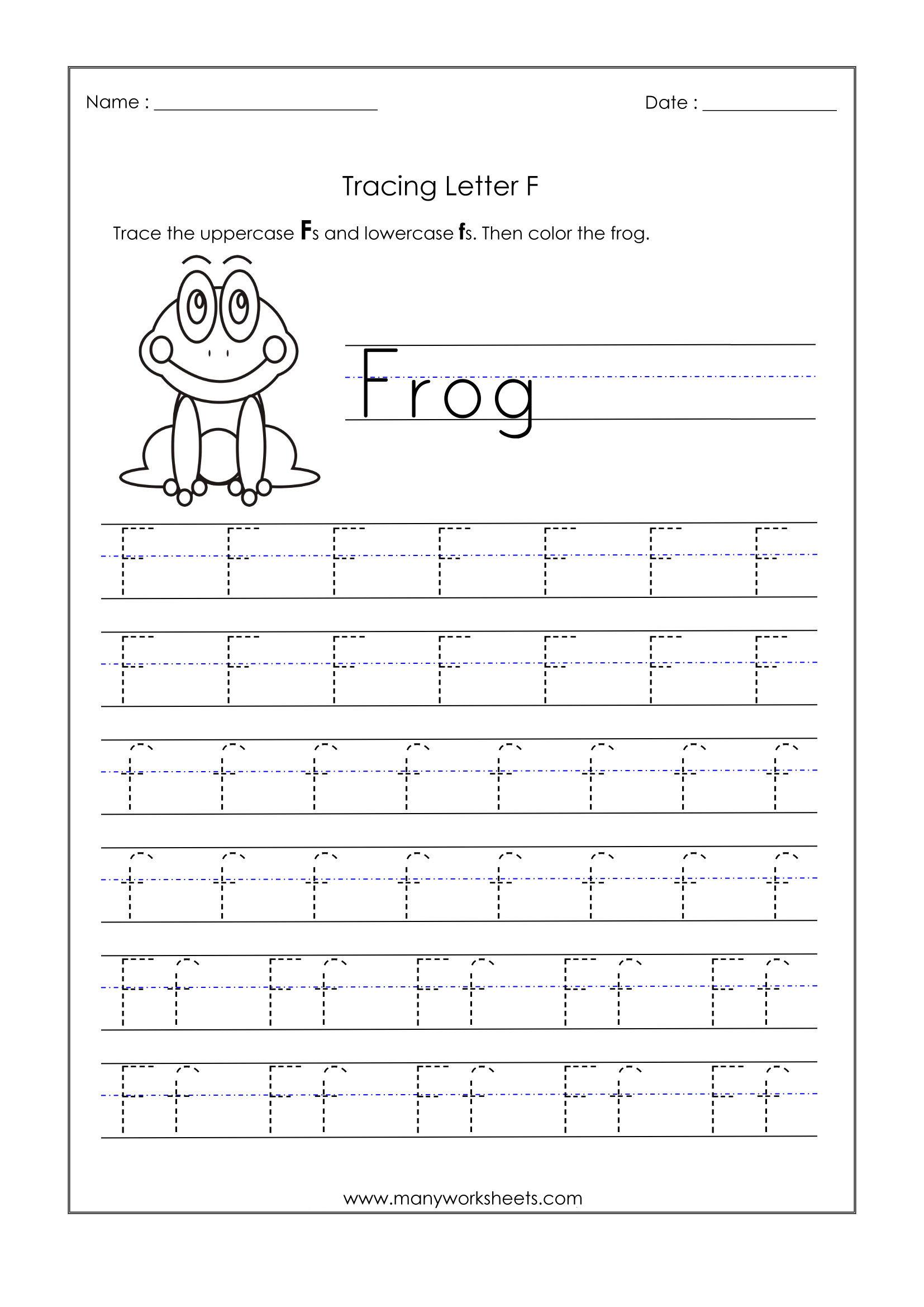 Letter F Worksheets For Kindergarten – Trace Dotted Letters