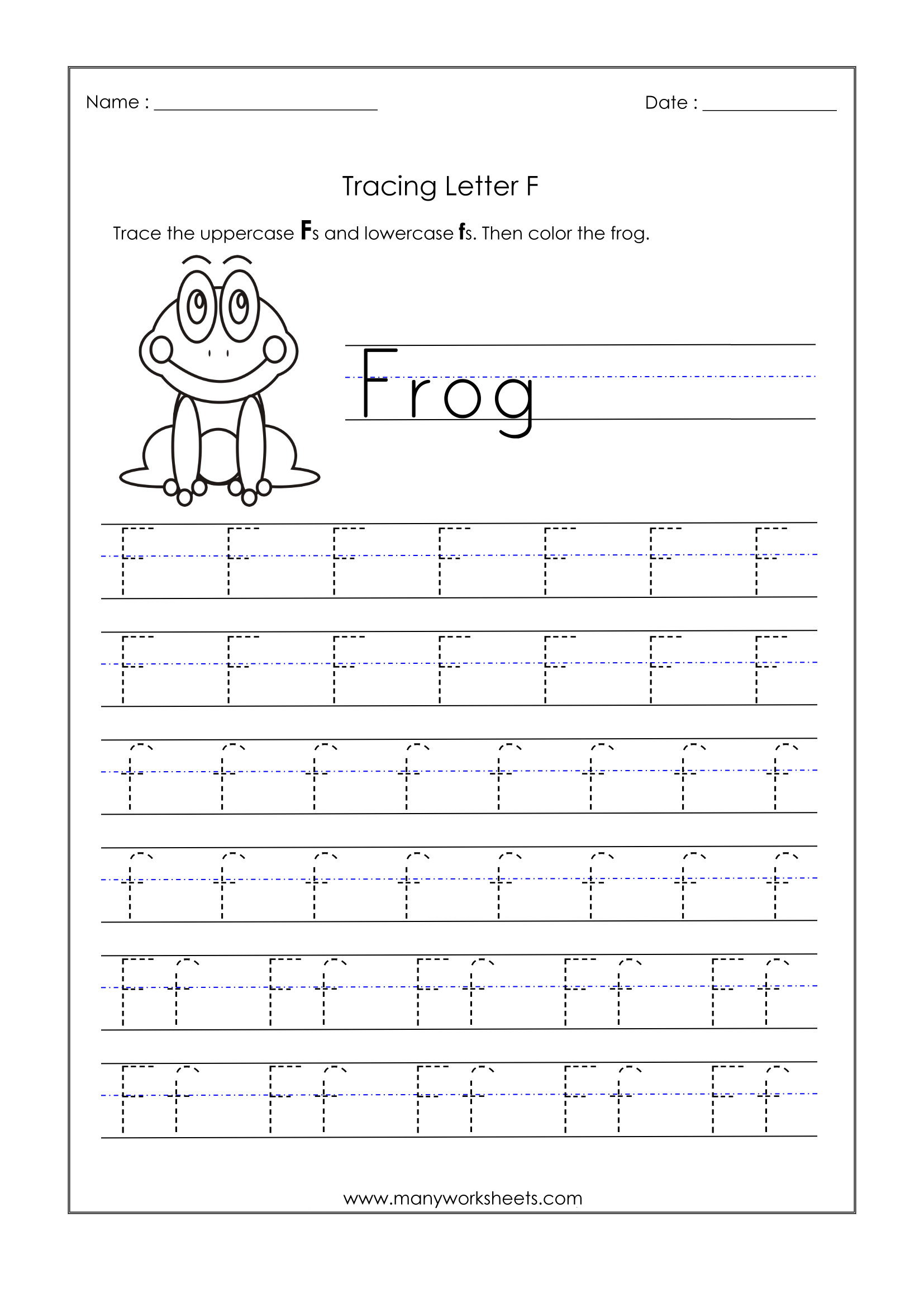 Letter F Worksheets For Kindergarten – Trace Dotted Letters