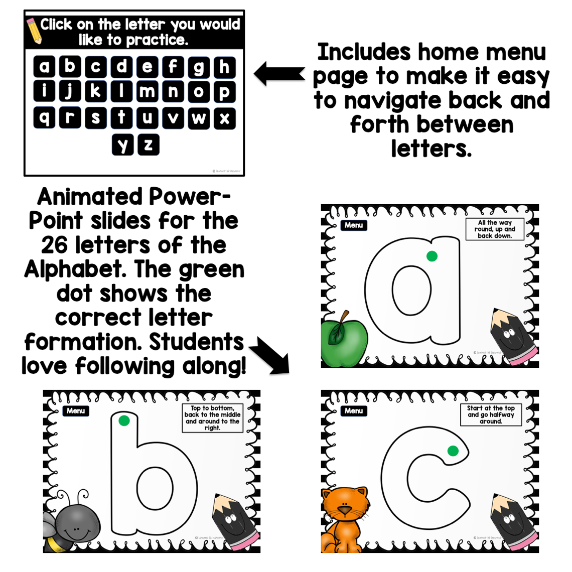 Letter Formation Powerpoint Animations, Posters With Rhymes