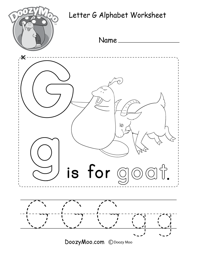 Letter G Alphabet Activity Worksheet - Doozy Moo