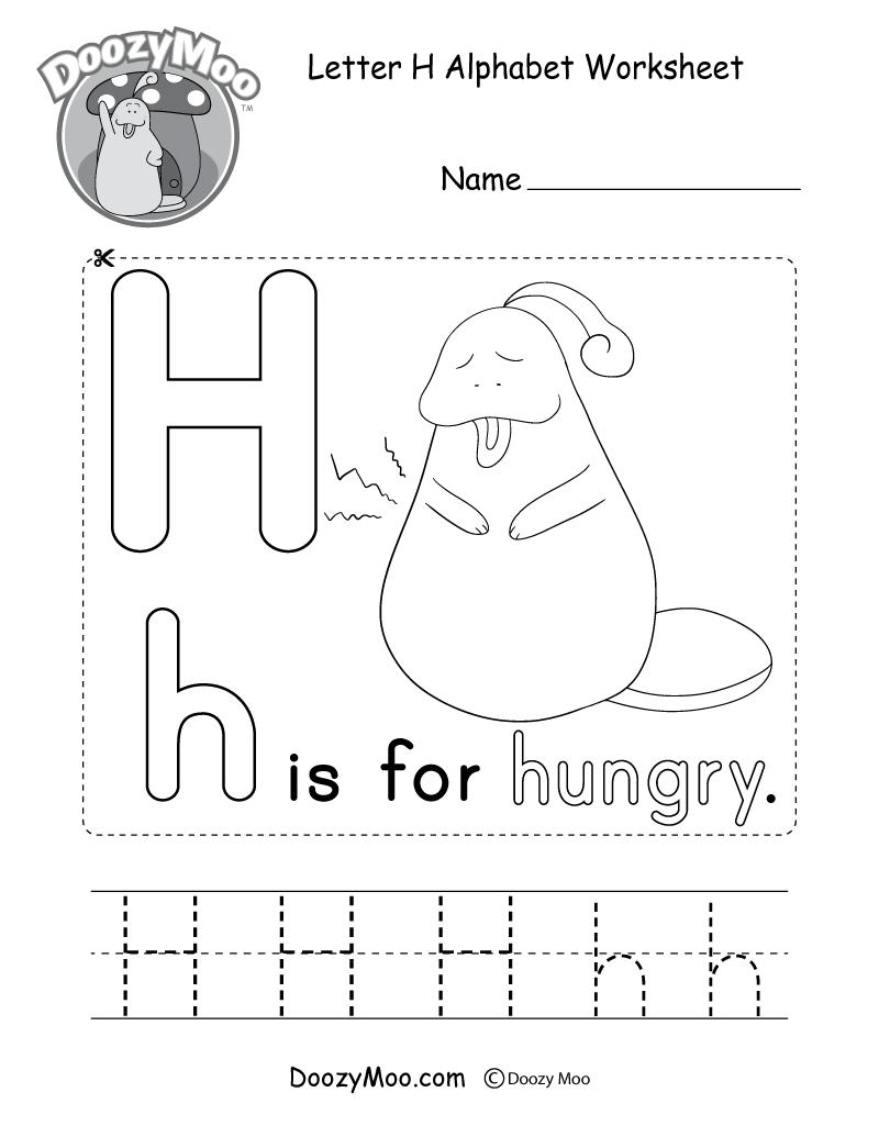 Letter H Alphabet Activity Worksheet - Doozy Moo