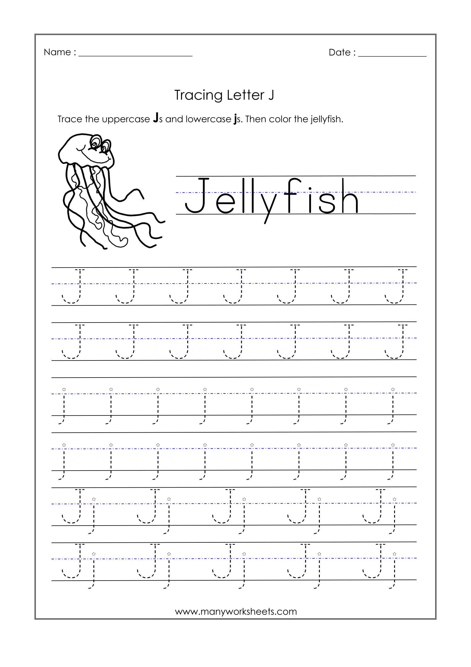 Letter J Worksheets For Kindergarten – Trace Dotted Letters