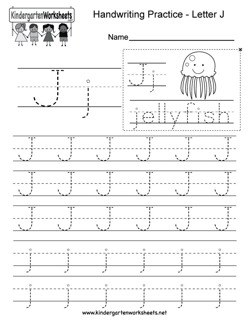 Letter J Writing Practice Worksheet - Free Kindergarten