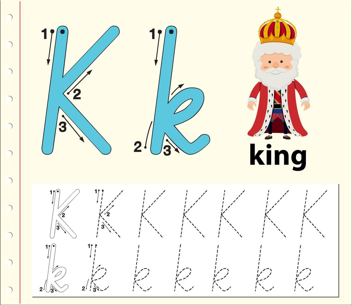 Letter K Tracing Alphabet Worksheets - Download Free Vectors