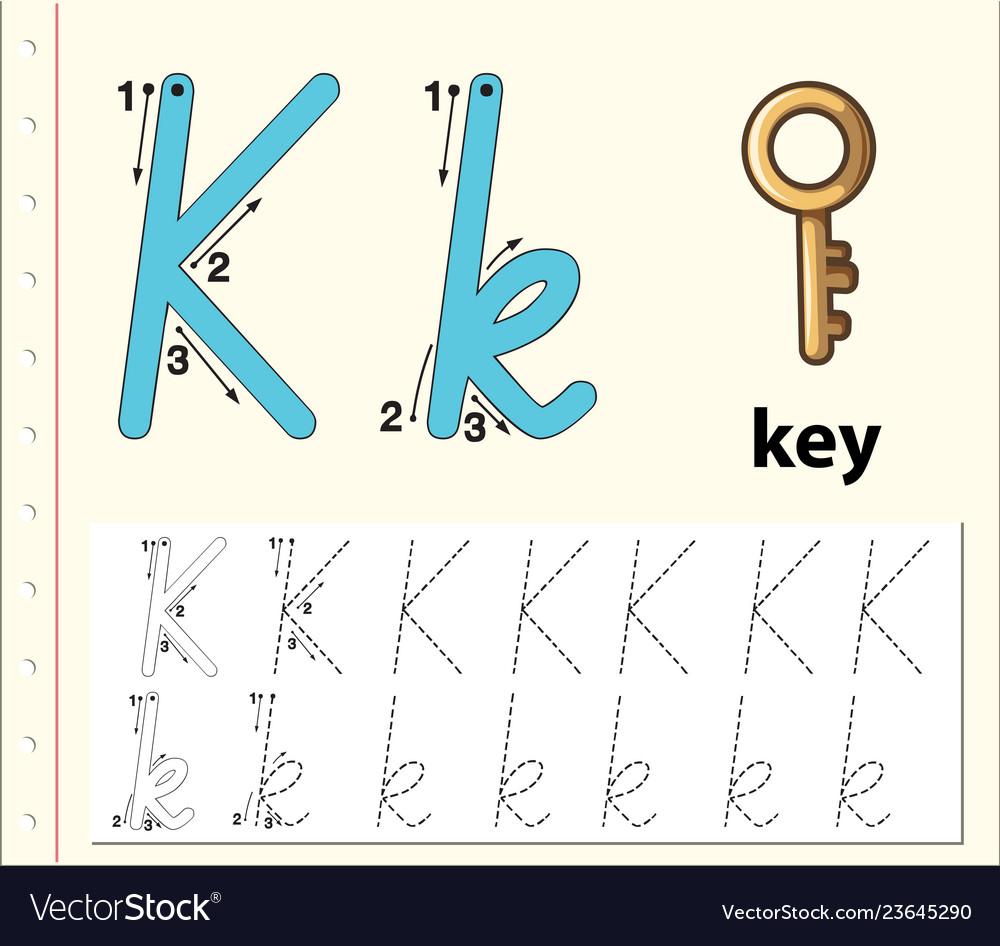 Letter K Tracing Alphabet Worksheets