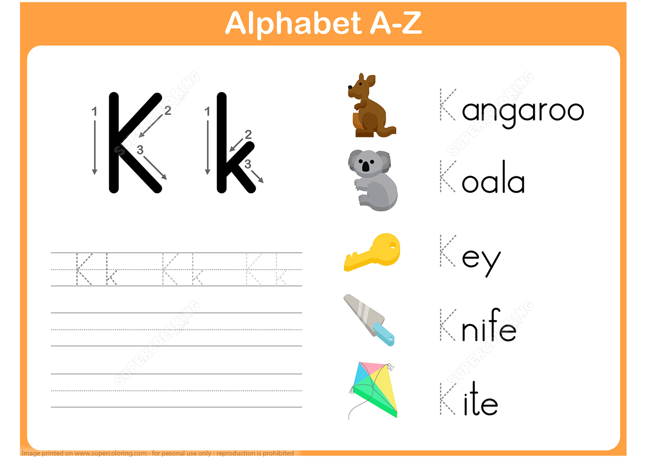 Letter K Tracing Worksheet | Free Printable Puzzle Games