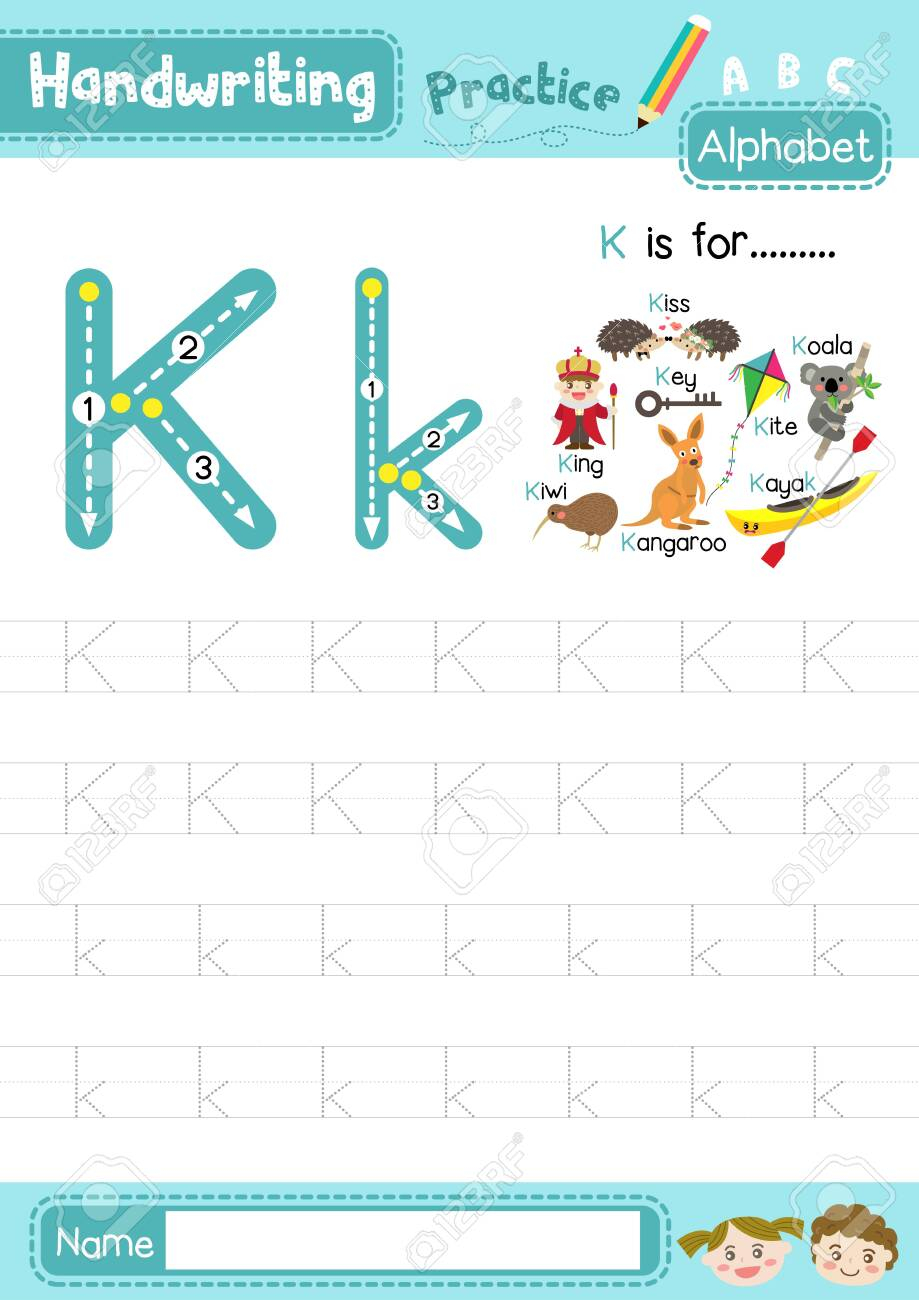 Letter K Uppercase And Lowercase Cute Children Colorful Abc Alphabet..