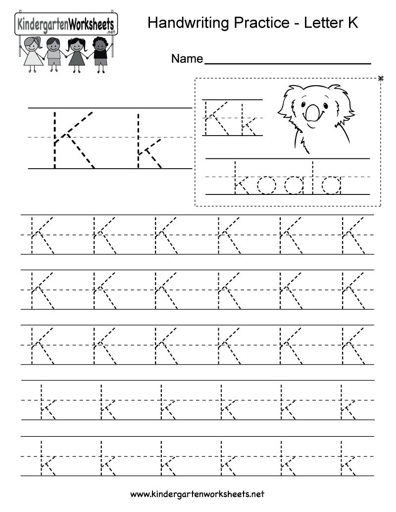 Letter K Writing Practice Worksheet - Free Kindergarten