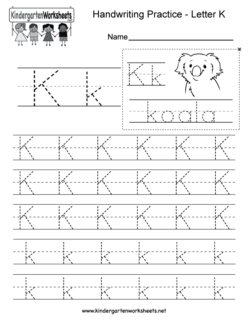 Letter K Writing Practice Worksheet. This Series Of