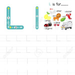 Letter L Uppercase And Lowercase Cute Children Colorful Abc Alphabet..