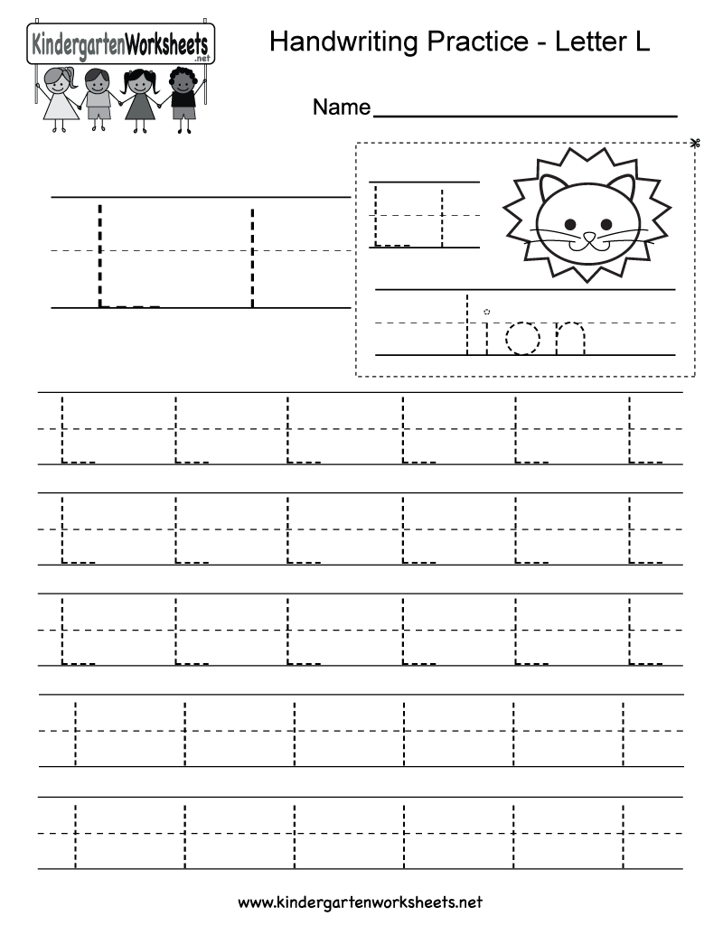 Letter L Writing Practice Worksheet - Free Kindergarten