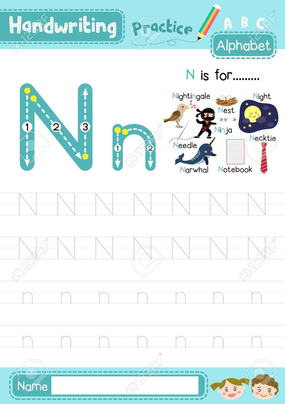 Letter N Uppercase And Lowercase Cute Children Colorful Abc Alphabet..