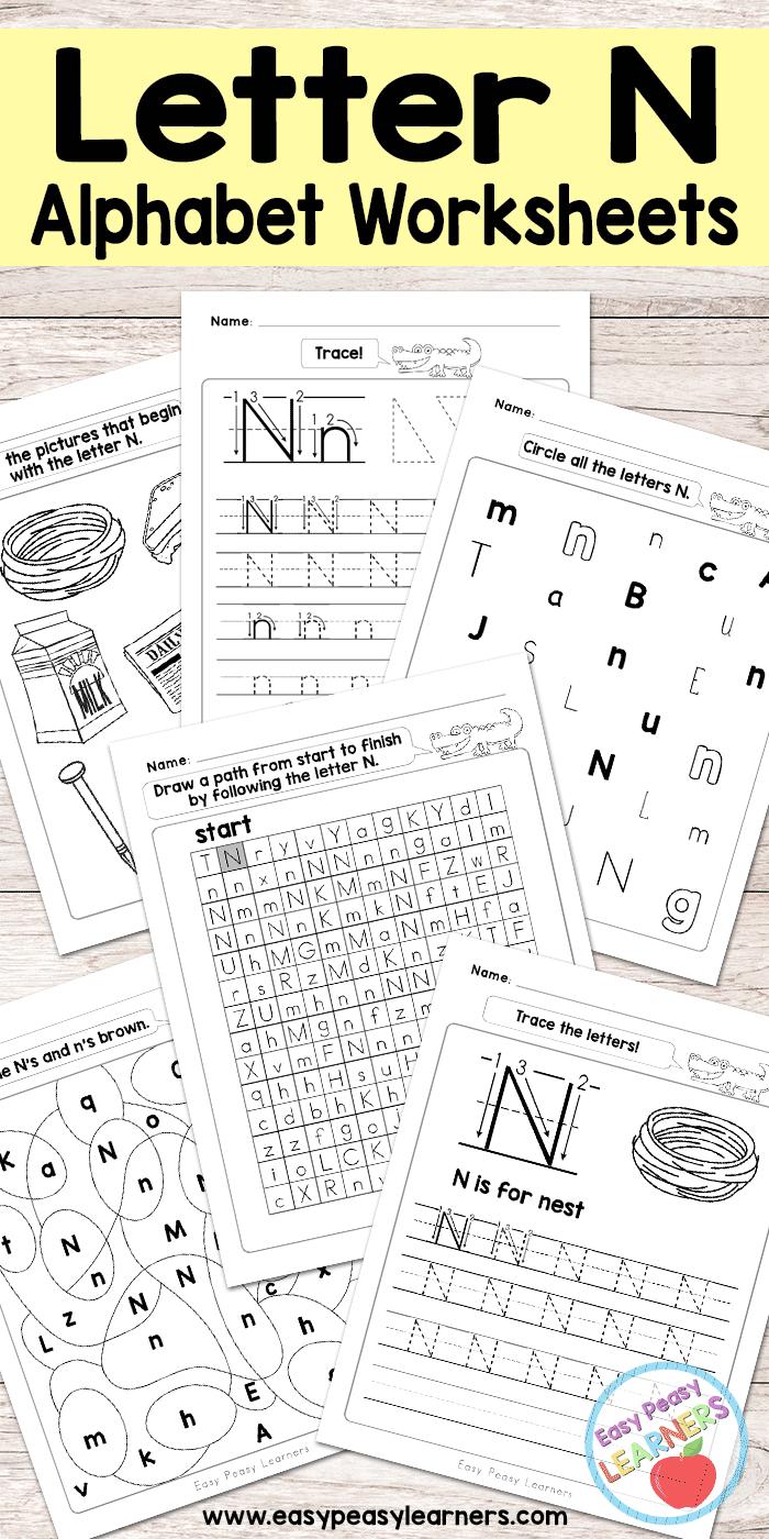 Letter N Worksheets - Alphabet Series - Easy Peasy Learners
