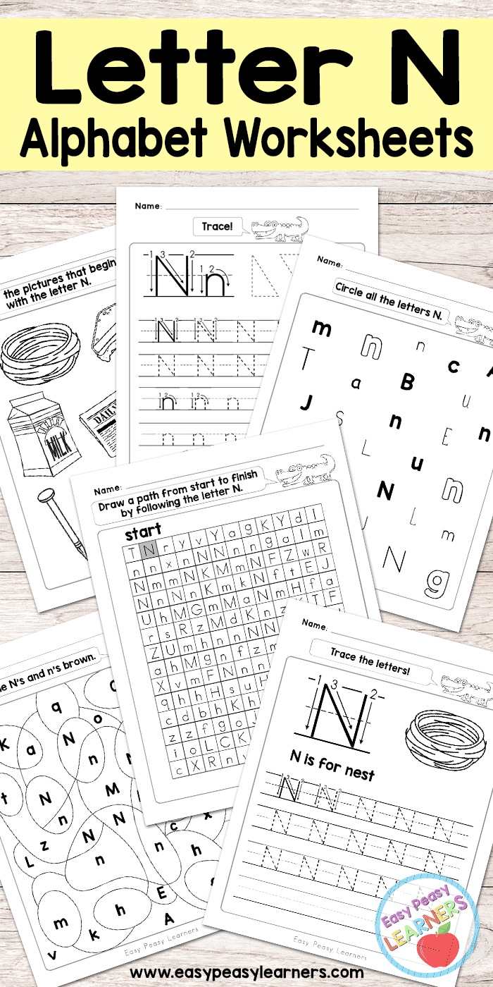 Letter N Worksheets - Alphabet Series - Easy Peasy Learners